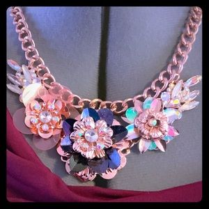 Rose Gold Floral Statement Necklace